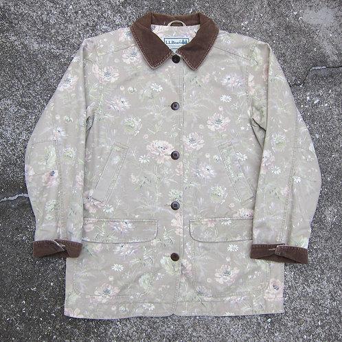 90s L.L. Bean Beige Floral Barn Coat - L