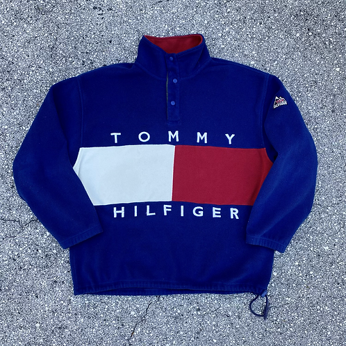 90s Tommy Hilfiger Big Graphic Fleece Pullover - L/XL