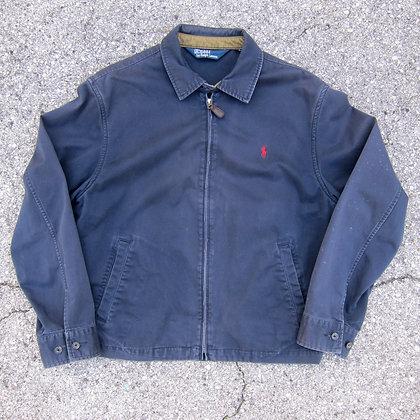 90s Polo RL Navy Cotton Full Zip Jacket - L