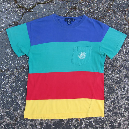 Early 90s Polo Ralph Lauren Rainbow Wide Stripe Pocket Tee - M