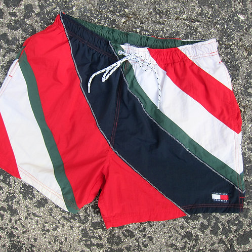 90s Tommy Hilfiger Colorblock Nylon Water Shorts - XL