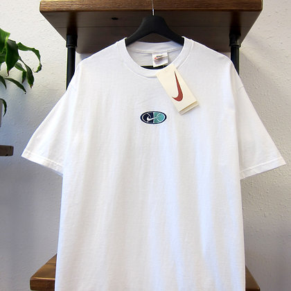 90s Nike White Embroidered Tee - L