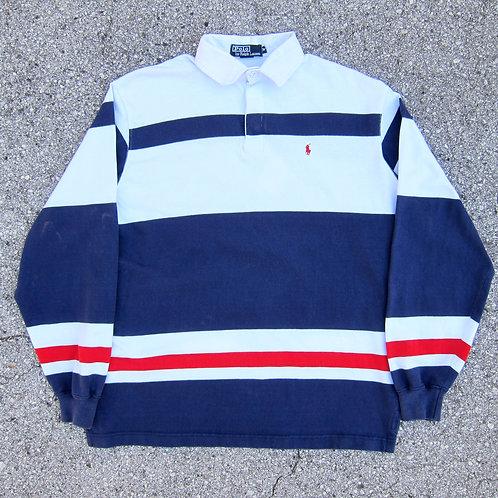 90s Polo Ralph Lauren USA Wide Stripe Rugby Shirt - M/L