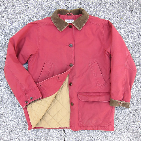 90s L.L. Bean Raspberry Cotton Insulated Barn Jacket - S
