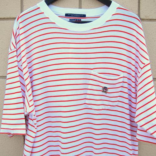 6776dea6 90s Tommy Hilfiger White & Orange Striped Pocket Tee - XL