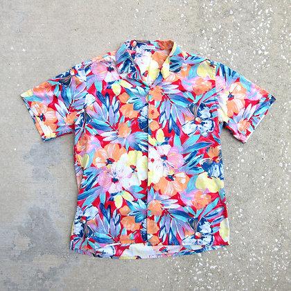 80s Pastel Floral All Cotton Shirt - L/XL