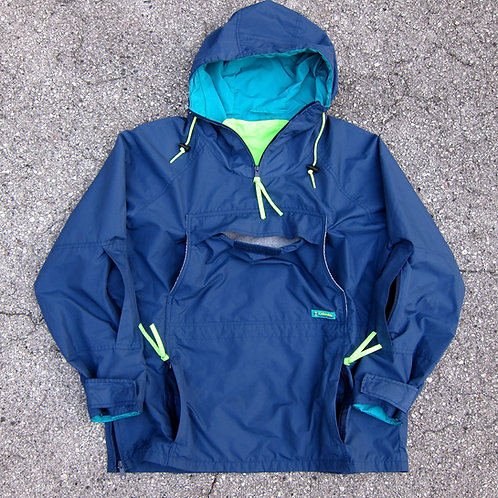 90s Columbia Sportswear Navy Nylon Packable Anorak Jacket - L