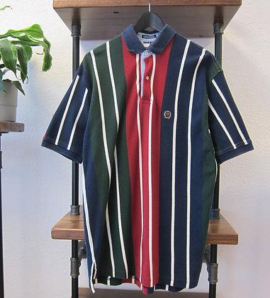 90s Tommy Hilfiger Multi Stripe Polo Shirt - M