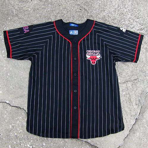90s Chicago Bulls Pinstriped Starter Baseball Jersey - XL