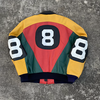 90s 8 Ball Leather Jacket - L