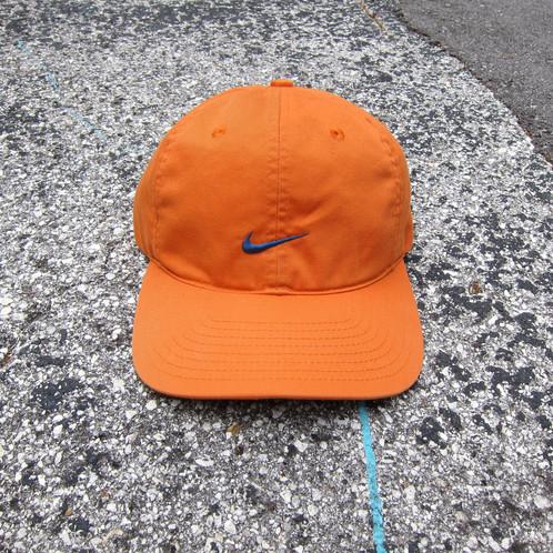 3a07eb41 90s Nike Orange Cotton 6 Panel Swoosh Hat