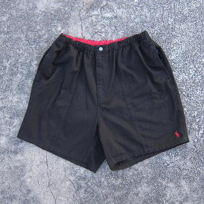 90s Polo RL Black Cotton Athletic Shorts - XL