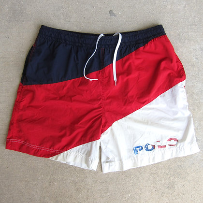 90s Polo Sport Flag Logo Nylon Shorts - L