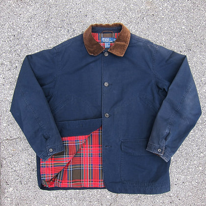 90s Polo RL Navy Chore Jacket w/ Plaid Lining - M/L