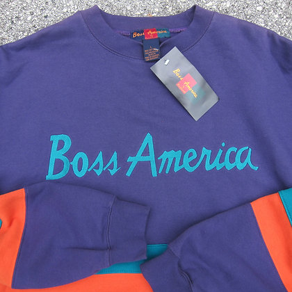 Early 90s Boss America Purple Striped Crewneck - L/XL