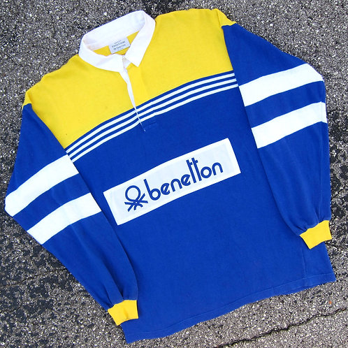 90s Benetton Royal and Yellow Rugby Shirt - L/XL
