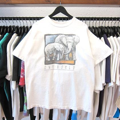 *Worn* 90's One World Elephant Nature Tee - L