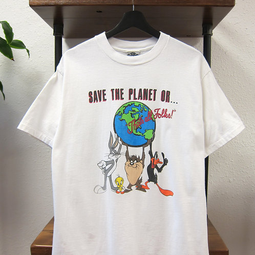 90s Save The Planet Looney Tunes Tee - L