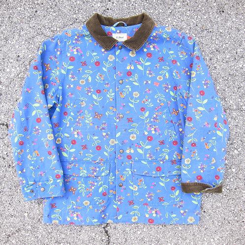 90s L.L. Bean Blueish Floral Barn Jacket - M