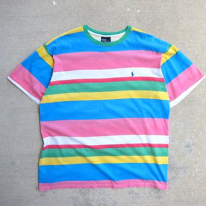 90s Polo RL Bright Stripe Tee - XL