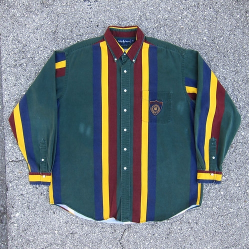 90s Polo Ralph Lauren Wide Stripe Crest Button Down Shirt - XL
