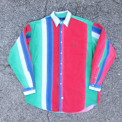 90s Polo Ralph Lauren Fade Stripe Colorblock Button Up - L