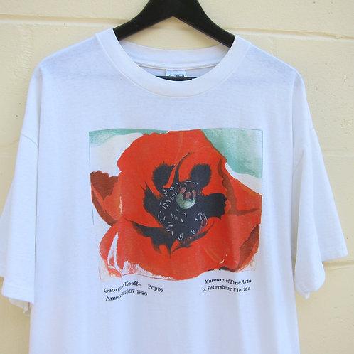 "'86 Georgia O'Keeffe ""Poppy"" Art Tee - XL"