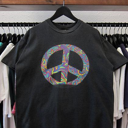 90's Colorful Peace Logo Tee - L