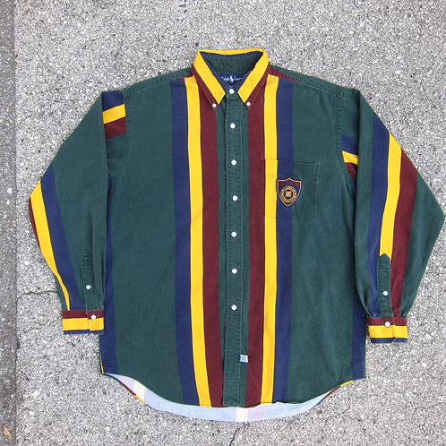 90s Polo Ralph Lauren Wide Stripe Crest Button Down Shirt - L/XL