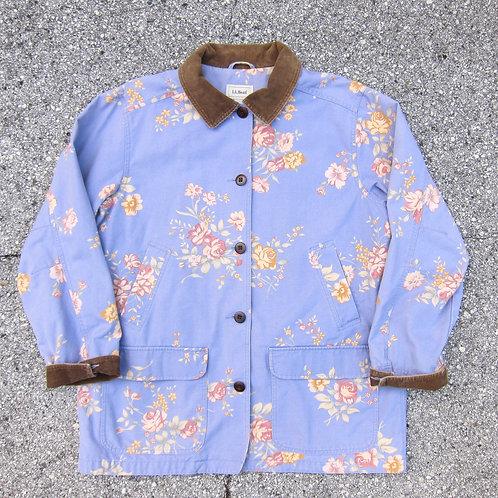 90s L.L. Bean Blueish Floral Barn Jacket - L