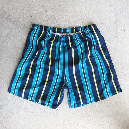 90s Striped Nylon Water Shorts - XL