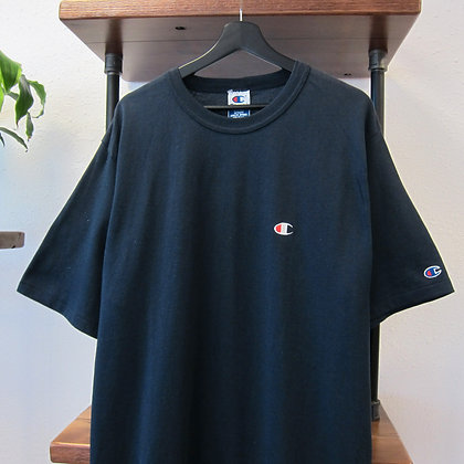 90s Champion Navy Blue Embroidered Logo Tee - L