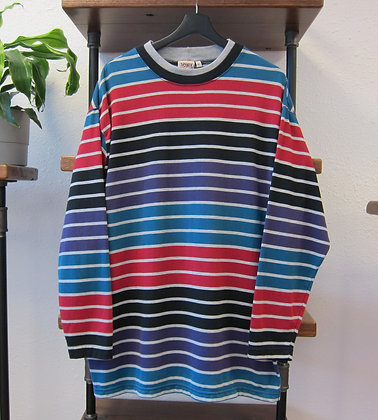 Early 90s Wide Striped Long Sleeve Tee -XL