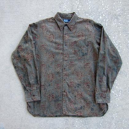 90s Polo RL Olive Paisley Print Shirt - L