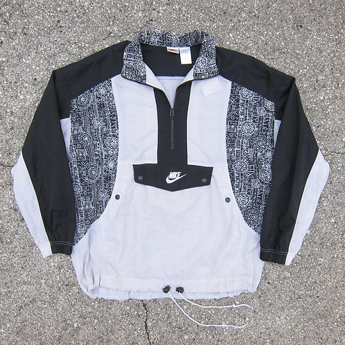 90s Nike Black & White Abstract Print Windbreaker - M