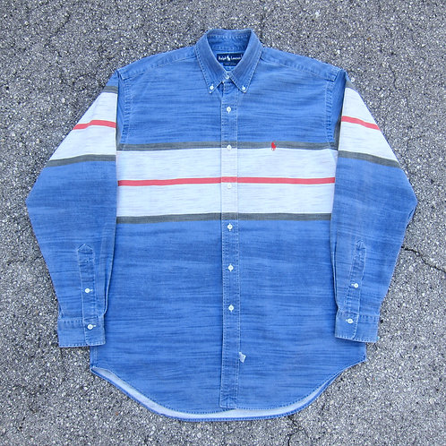 90s Polo Ralph Lauren Fade Stripe Denim Button Up - L