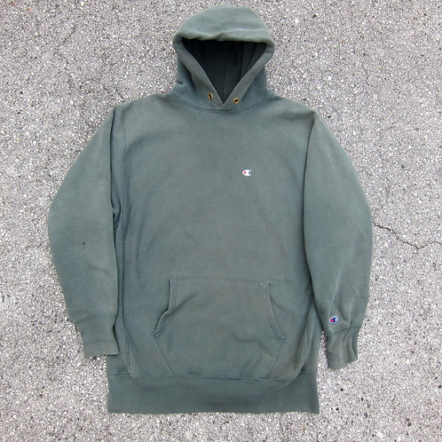 90s Champion *Faded* Forest Green Reverse Weave Hoodie - XL/XXL