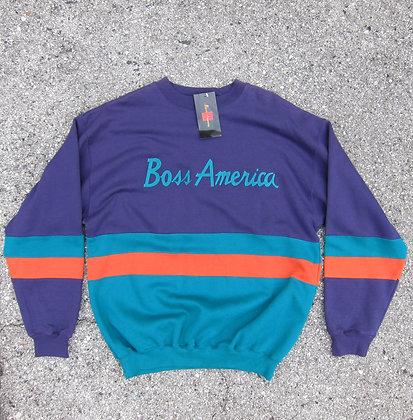Early 90s Boss America Purple Striped Crewneck - XL