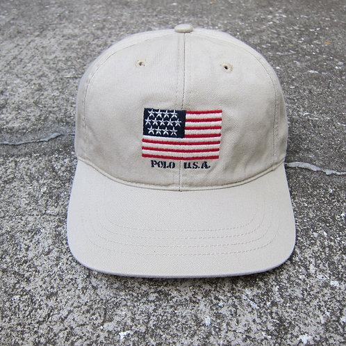 90s Polo Sport Chino USA Flag 6 Panel Hat