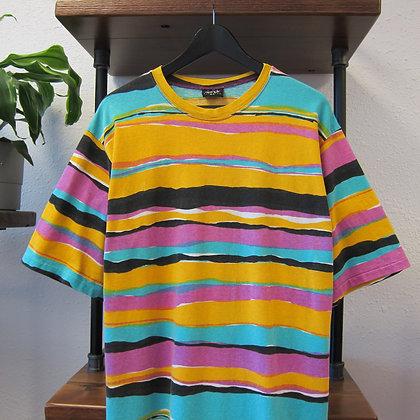 Early 90s Eightball Striped Tee - L