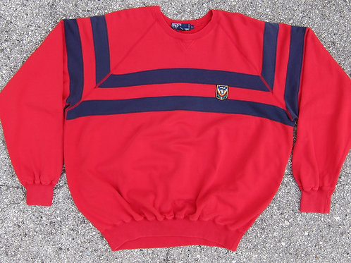 80s Polo Ralph Lauren Red Uni Crest Crewneck - XL