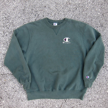 90s Champion Forest Green Embroidered Crewneck - XL