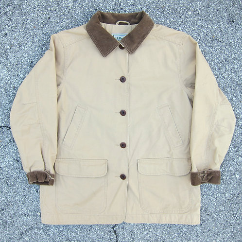 90s L.L. Bean Beige Cotton Barn Jacket w/ Printed Lining - M/L