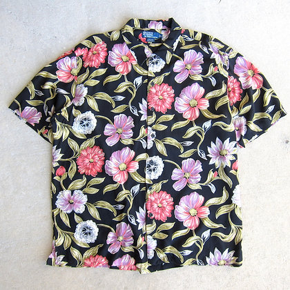 90s Polo RL Black Rayon Floral Shirt - XL