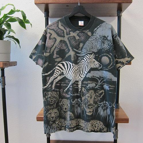 90s Safari Animals All Over Print Art Tee - L