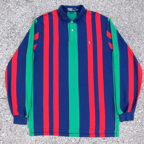 90s Polo Ralph Lauren Vertical Striped Collared Shirt - XL/XXL