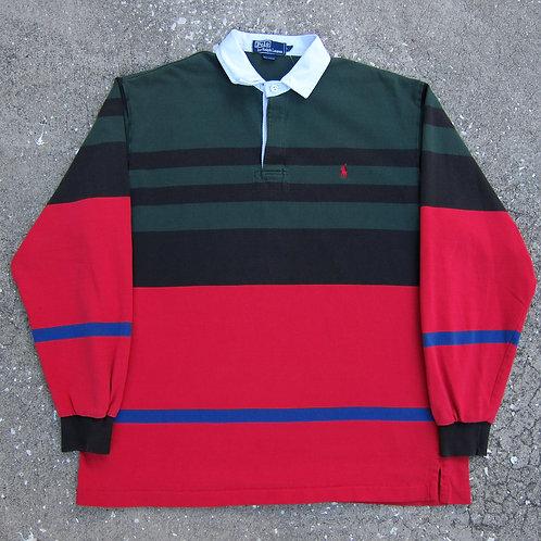 90s Polo Ralph Lauren Multi Striped Rugby Shirt - L/XL