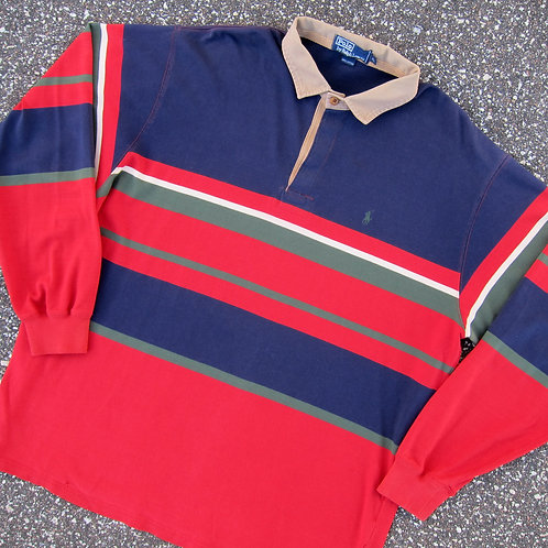90s Polo Ralph Lauren Multi Striped Rugby - XL