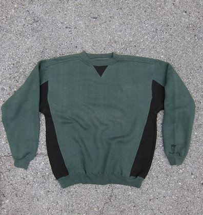 90s Logo 7 Forest Green & Black Crewneck - M/L