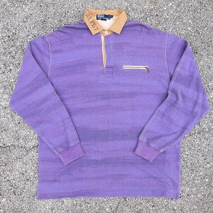90s Polo RL Purple Fade Stripe Rugby Shirt - XL